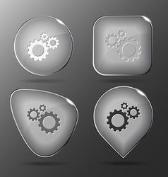Gears glass buttons vector