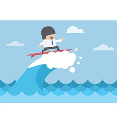 Businessman surfing on wave business concept vector