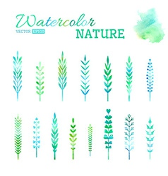 Set of watercolor leaves vector