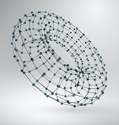 Wireframe polygonal element 3d torus with lines vector
