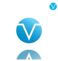 V letter logo concept on gradient plate vector