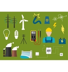 Electricity and engineering flat icons vector