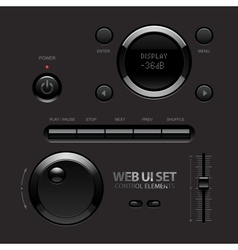 Dark shiny web ui elements buttons switches bars vector
