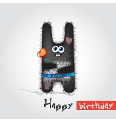 Card with funny bunny vector