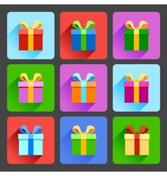 Flat gift box icons set vector