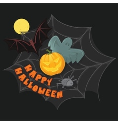 Happy halloween poster with pumpkin bat ghost vector