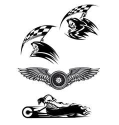 Black motocross mascot design vector