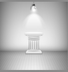 Illuminated blank pedestal in gallery vector