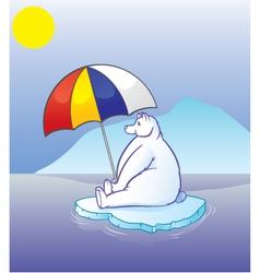 Polar bear with umbrella vector