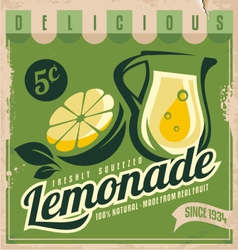 Vintage poster template for lemonade vector