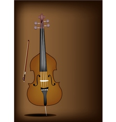 A beautiful double bass on dark brown background vector
