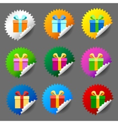 Gift box round label set vector