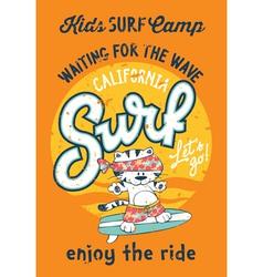 Cute kitten surfing camp vector