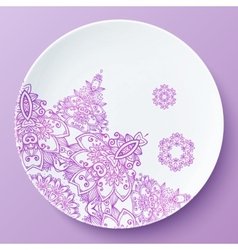 Plate with pink ornate pattern vector