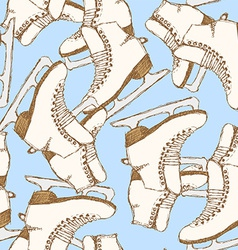 Sketch skating shoes in vintage style vector