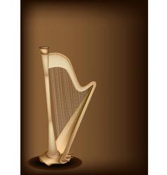 A beautiful harp on dark brown background vector