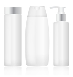 Set of plastic bottles cosmetic packaging vector