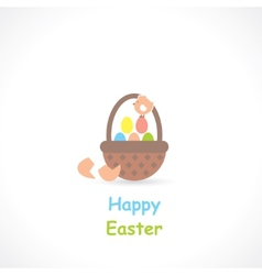 Basket with eggs vector