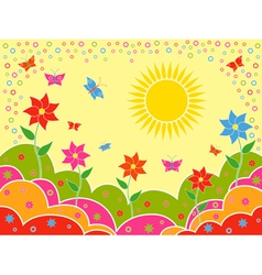 Sunny summer landscape as wallpaper vector