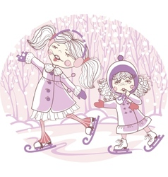 Two girls skate vector