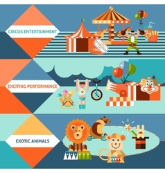 Circus icons flat banner set vector