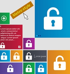 Open padlock icon sign metro style buttons modern vector