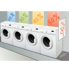 Sellout of washing machine in shop vector