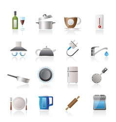 Kitchen objects and accessories icons vector