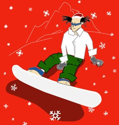 Snowboarder on a hill is waiting for the christmas vector
