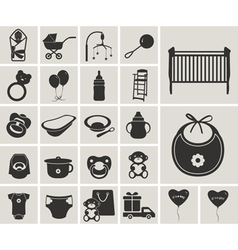 Baby black-white icons set vector