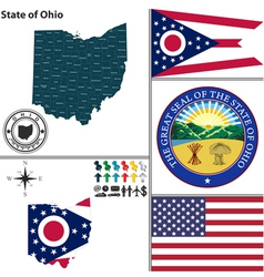 Map of ohio with seal vector