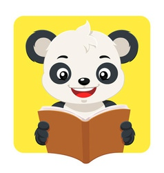 Little panda bear reading a brown book vector