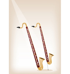 A musical bass clarinet on brown stage background vector