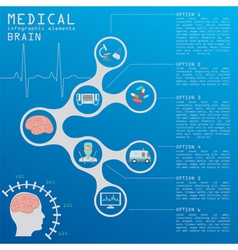 Medical and healthcare infographic brain vector