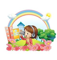 A girl with a headset and a phone with camera vector