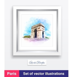 Famous arc de triomphe in paris france vector