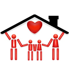 Family safe at home with love vector
