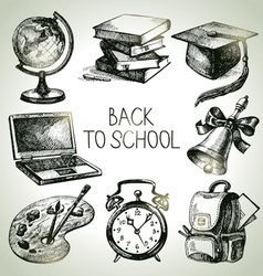 Back to school hand drawn school object set vector