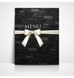 Restaurant menu design with white bow and ribbon vector