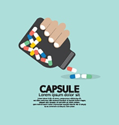 Medicine capsules bottle in hand vector