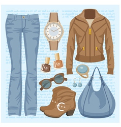 Fashion set with jeans and a jacket vector