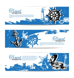 Banner set of travel vintage backgrounds vector