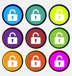 Open padlock icon sign nine multi-colored round vector