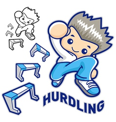 Hurdles game and jump vigorously man mascot vector