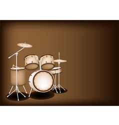 A beautiful drum kit on dark brown background vector