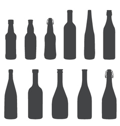 Alcohol bottles silhouette set vector