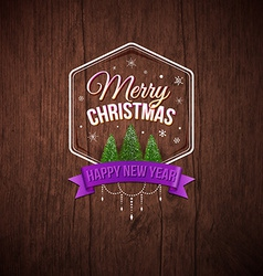 Typographic label merry christmas and happy new vector