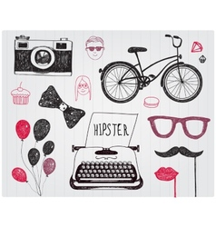 Hand-drawn set of hipster style elements vector