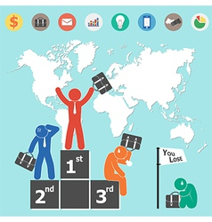 Businessman is winner and world map vector