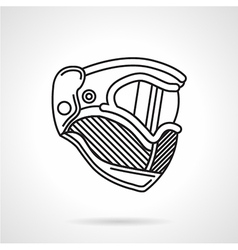 Paintball helmet flat line icon vector